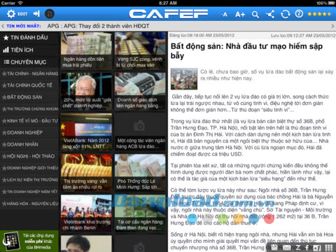 CafeF HD for iPad