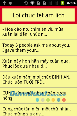 Loi chuc tet am lich for Android