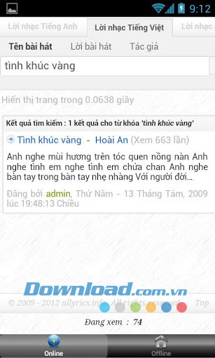 Lời nhạc for Android