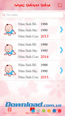 Chọn năm sinh con for Android