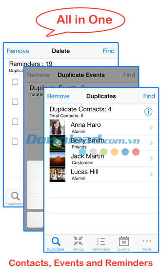 Remove duplicate contacts and events for iOS