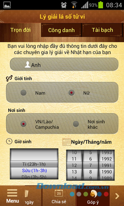 Lịch tử vi phong thủy for Andoid