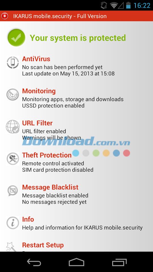 IKARUS mobile.security LITE for Android