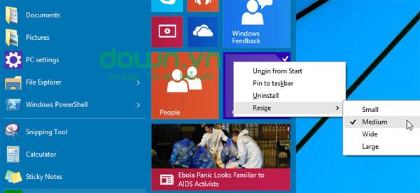 Figure 3: Một số cách tùy chỉnh Start Menu trên Windows 10