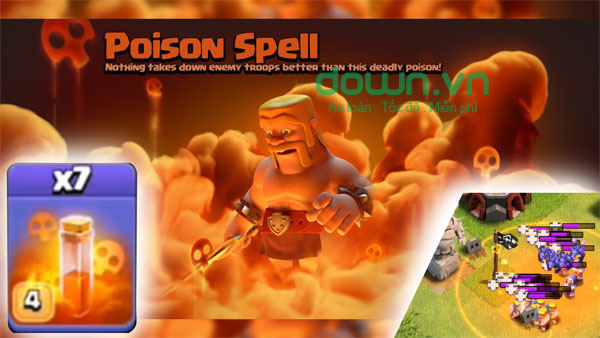 Cách sử dụng Poison Spell trong game Clash of Clans