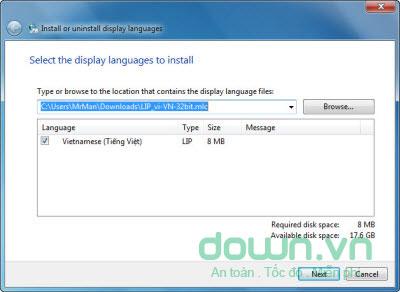 Cài đặt ngôn ngữ tiếng Việt cho Windows 7