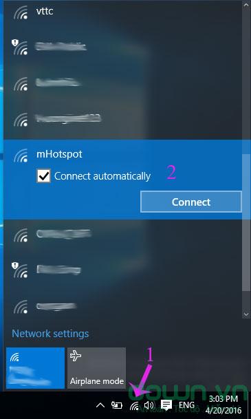 Thiết bị khác kết nối đến mHotspot